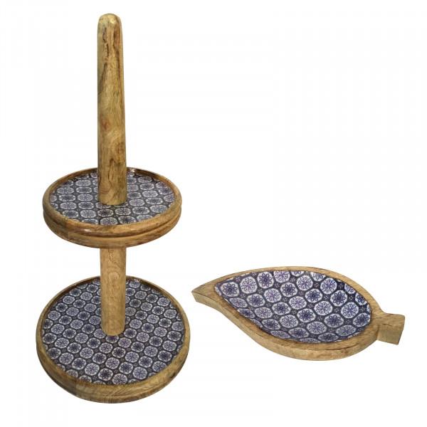 Etagere Set mit 1 Knabber Teller Blatt Mangoholz mit Keramikdekor lebensmittelgeeignet