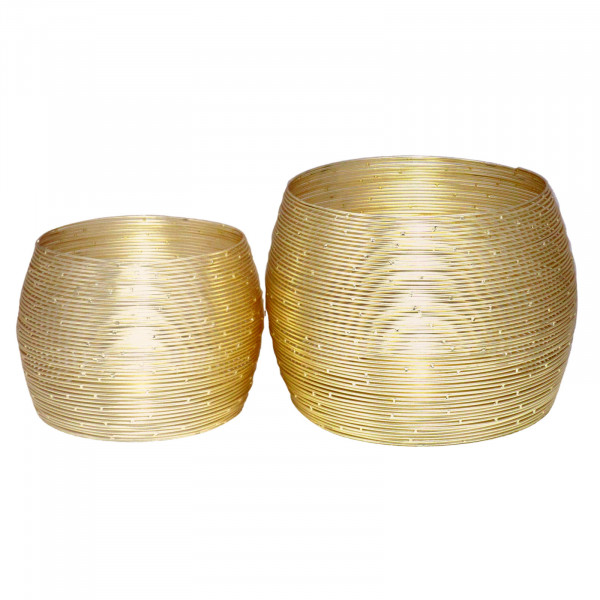 Teelichthalter Set 2-teilig Kerzenhalter Paris Drahtoptik Aluminium vergoldet