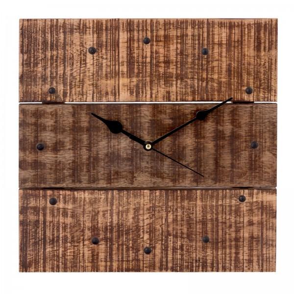 Wanduhr Wohnzimmeruhr aus Holz Vintage lautlos eckig 30 x 30 cm quadratisch aus Mangoholz massiv