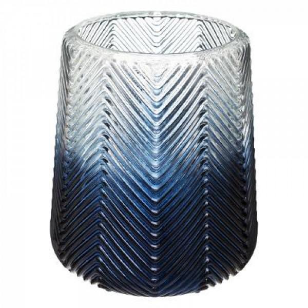 Vase Windlicht Übertopf ø 17/ 12 H 18/13,5 cm Glas mitternachtsblauer Farbverlauf Grätenstruktur