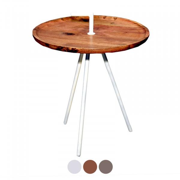 Serviertisch Beistell-Tisch rund Reno ø 50 cm Metall-Gestell altsilber oder schwarz