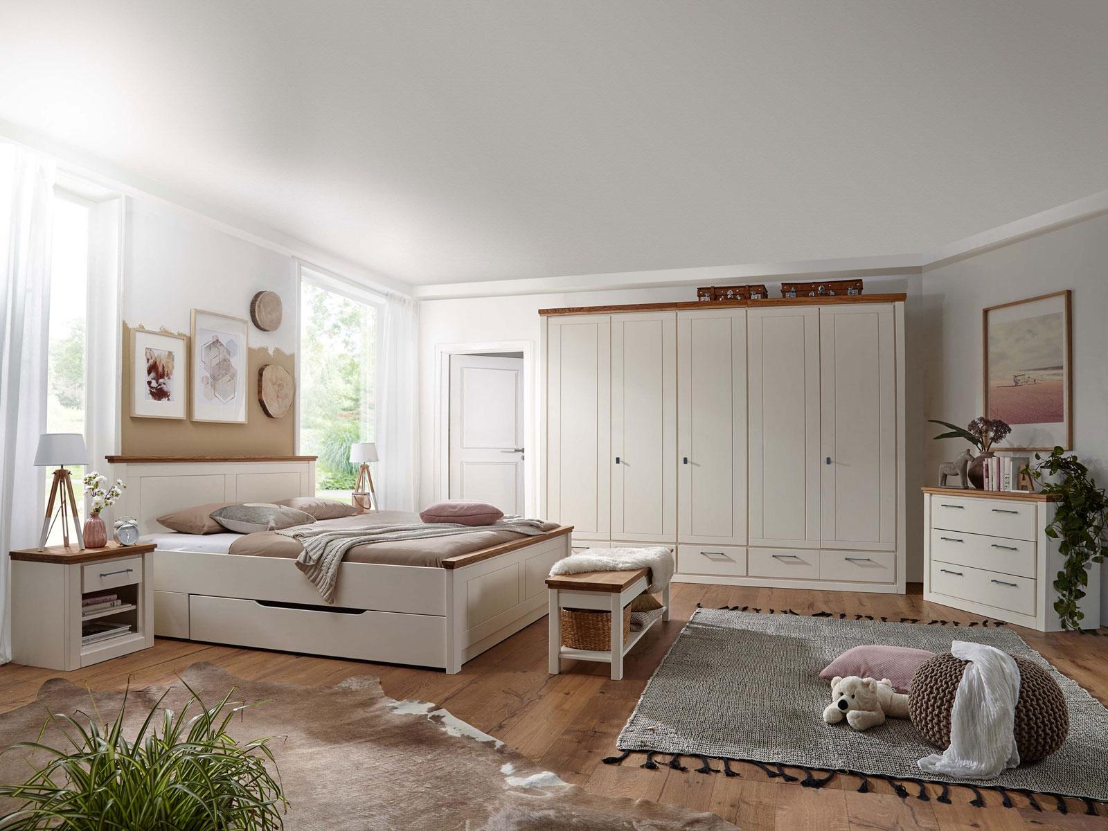 Bett Doppelbett Provence 180 x 200 cm Pinie Nordica creme und Eiche massiv  geölt