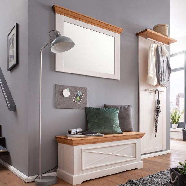 Garderoben SET 1 mit Truhe Spiegel und Garderobenpaneel Milan Pinie Nordica weiß gewachst