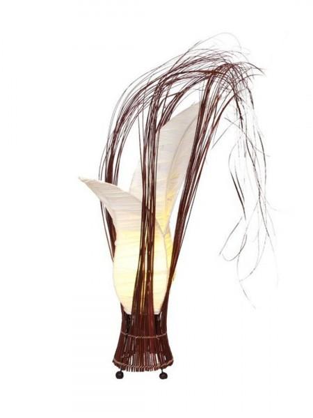 "Tischlampe ""Bunga"" blumige, stoffbezogene Form, Höhe 50 cm, Stoffbezug cream"
