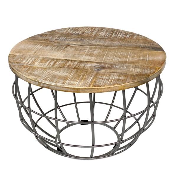Couchtisch Wohnzimmer Tisch Rund Beistelltisch Lexington O 55 Cm Metall Gestell Massive Tischplatte