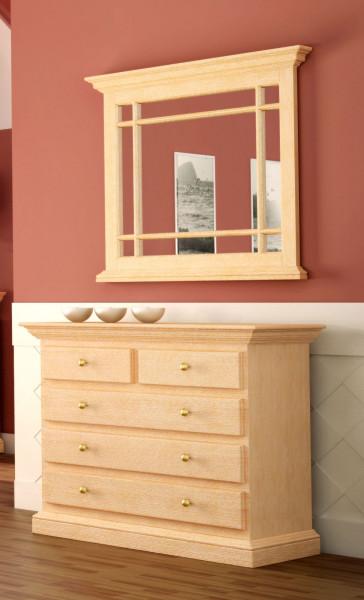 Sideboard-Set mit Spiegel mit Holzleisten Duett Pinie massiv
