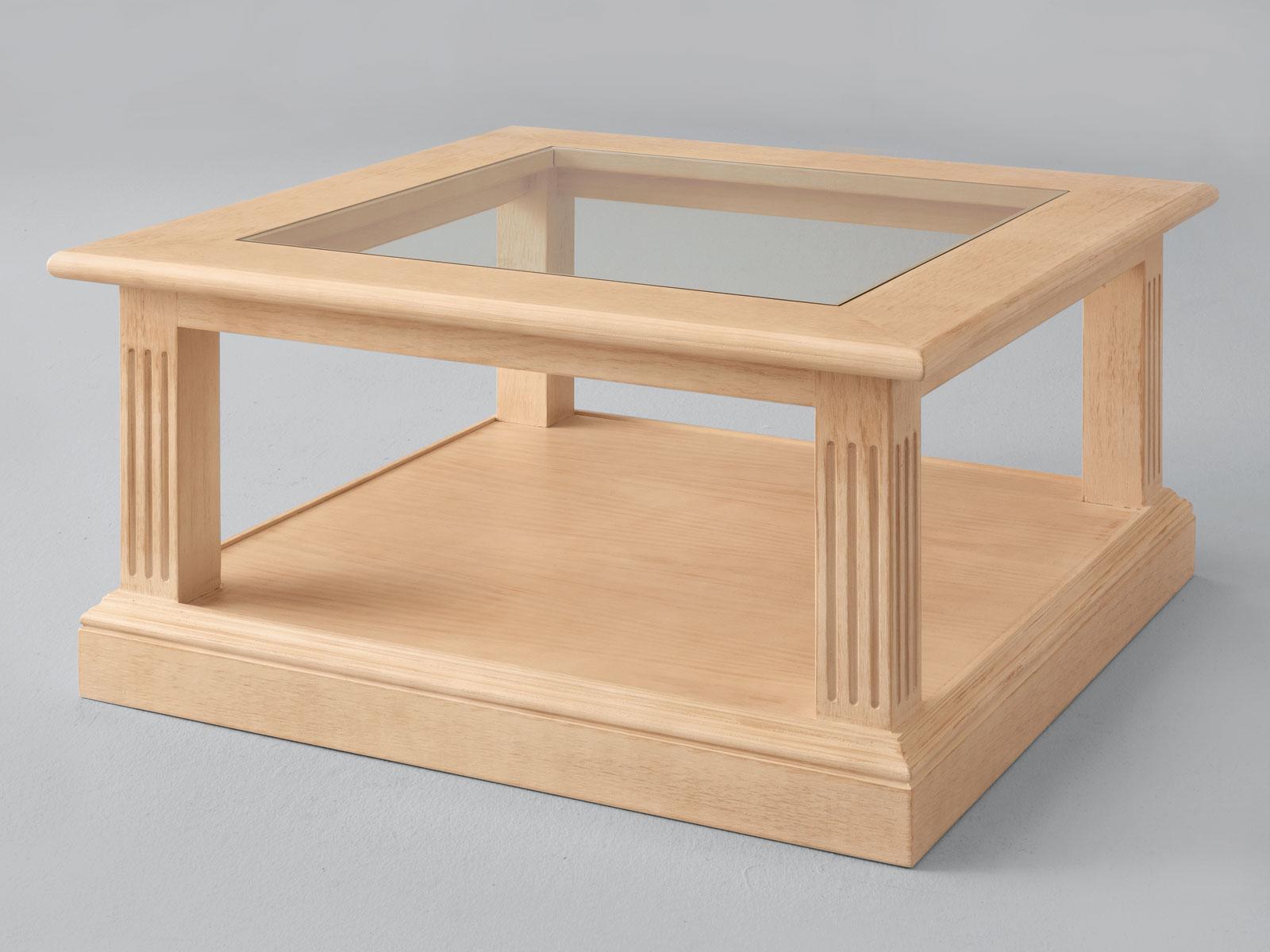 Couchtisch Wohnzimmer-Tisch Casapino quadratisch mit Glasplatte 90 x 90 cm  Pinie massiv