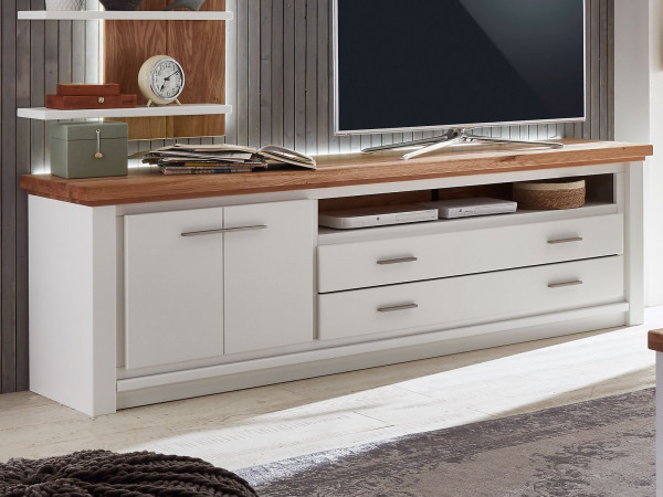 TV Lowboard Fernsehschrank Olbia 208x64x48 cm Pinie Nordica weiß und Wildeiche natur geölt massiv