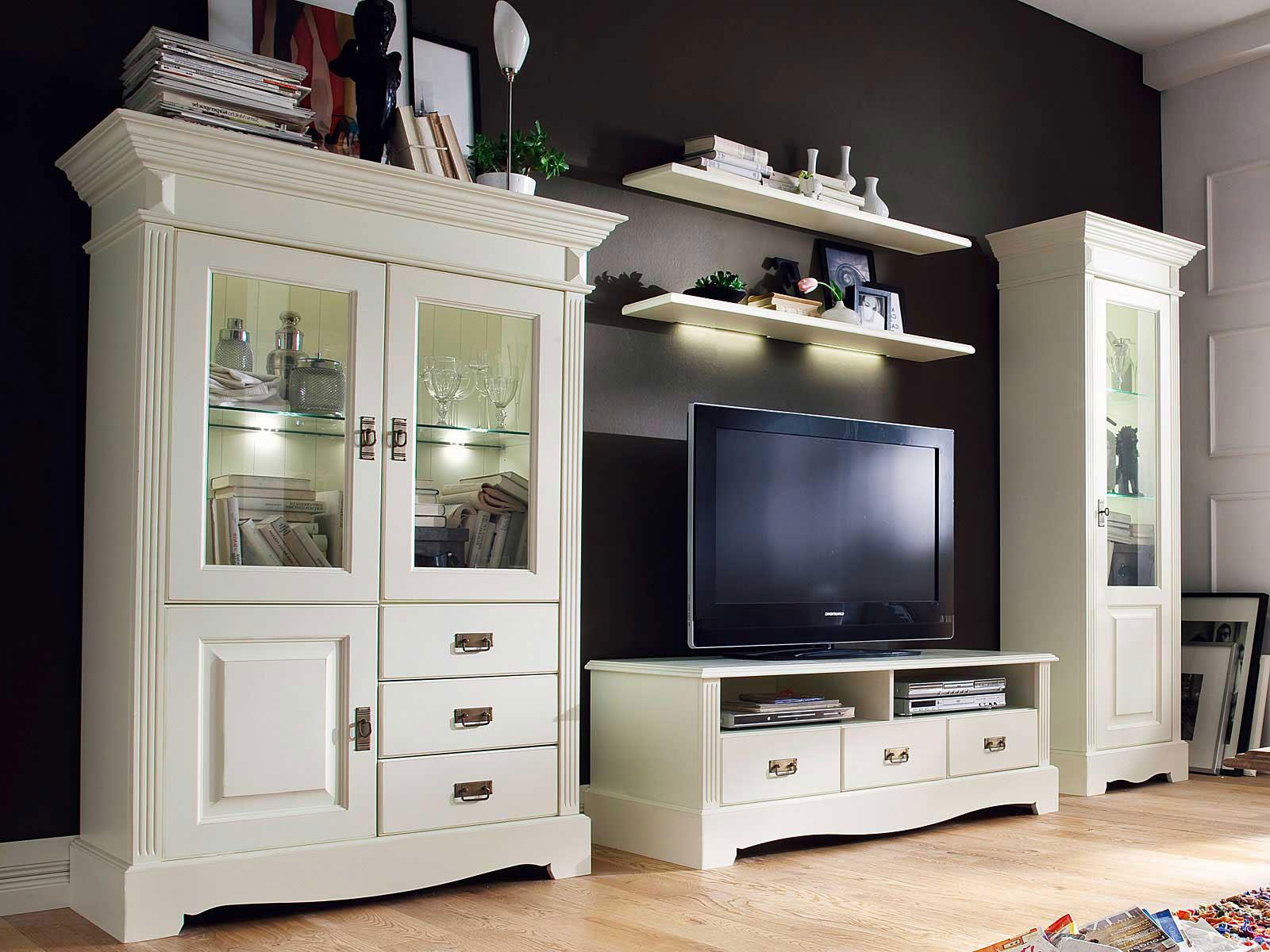 Wohnwand Wohnzimmer Schrank Set Padua 10-teilig B 3104 x H 10 x T 106 cm  Pinie Nordica massiv