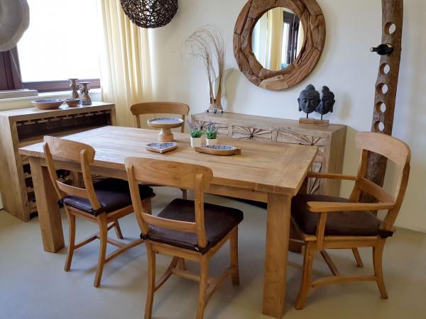 Essgruppe Esszimmer Sitzgruppe Teakholz Tisch 180 x 90 cm und 6 Stühle Teakholz massiv