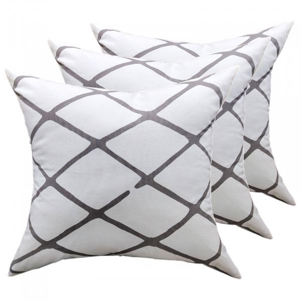 Zierkissen Set 3 Stück Deko Kissen Sofa Kissen Baumwolle 45 x 45 cm Karo-Design weiß grau