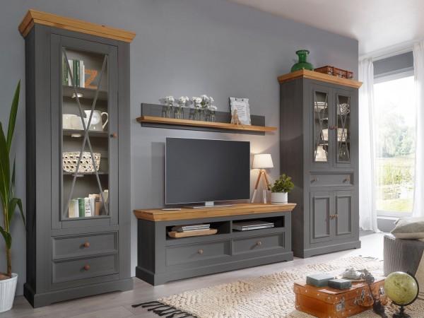 Wohnwand Massivholz grau Macra 4-teilig 2 hohe Vitrinen 1- und 2-türig 1 TV Lowboard + 1 Wandbord