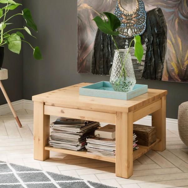 Couchtisch quadratisch Wohnzimmer-Tisch Beistelltisch Verona Massivholz Pinie Nordica natur