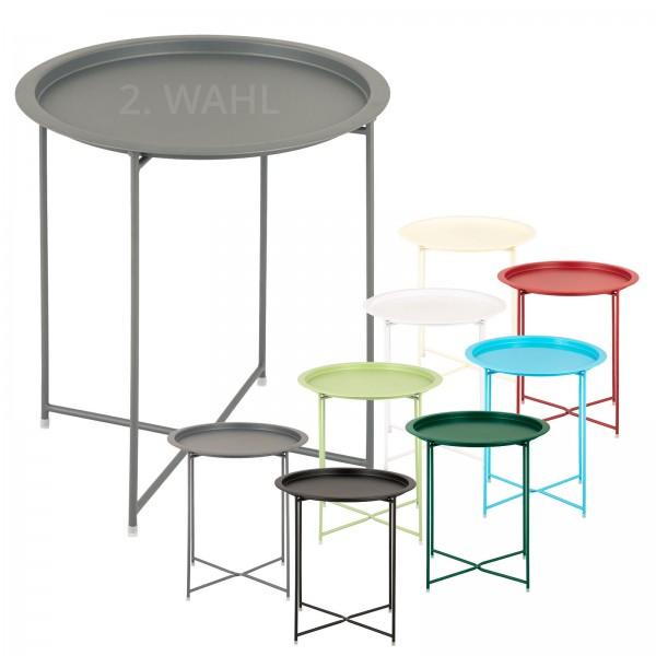 Beistelltisch 2. Wahl Gartentisch Balkon Tisch Terassentisch rund Alberta Metall wetterfest zusammen