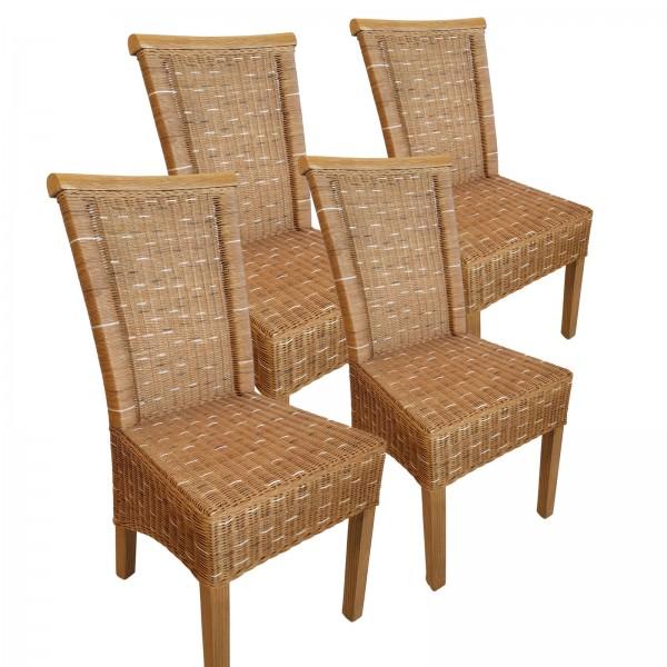 Esszimmer-Stühle Set Rattanstühle Perth 4 Stück braun Sitzkissen Leinen weiß