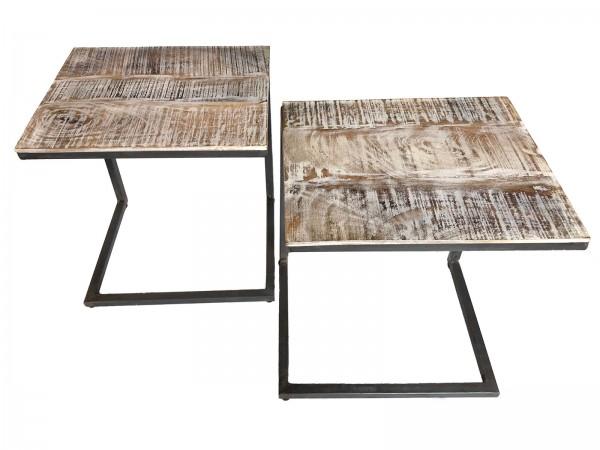Couchtisch 2er Set II. Wahl Wohnzimmer-Tisch-Set Beistelltisch Atlanta Metall-Gestell altsilber