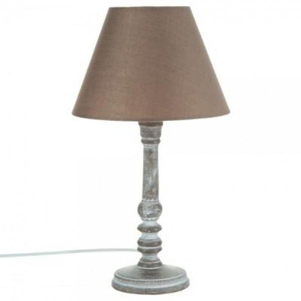 Tischleuchte Nachttischlampe Deko Leuchte ø 20 x H 35 cm Dekolampe taupe
