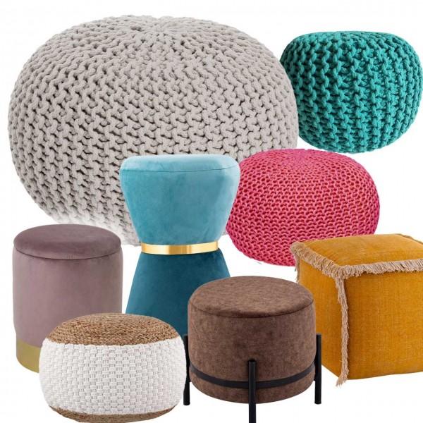 Pouf Sitzpuff Strick Velours Sitzhocker Strickhocker Sitzpouf Bodenkissen viele Arten/Farben u. Maße