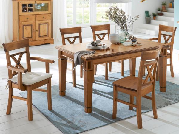 Sitzgruppe Florenz 1 Esstisch 140 cm 4 Stühle mit und 2 Stühle ohne Armlehne Pinie Nordica massiv