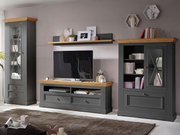 Wohnwand grau Massivholz Macra 4-teilig 1 hohe Vitrine 1-türig Highboard TV Lowboard und Wandbord