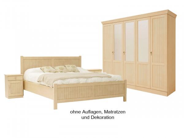 Schlafzimmer Casabella 4-teilig mit Kleiderschrank, Doppelbett, 2 Nachtkonsolen, Pinie massiv