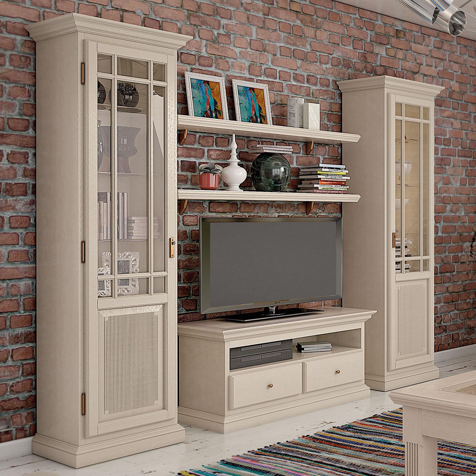Wohnwand Wohnzimmer Schrank Set Duett 2 Vitrinen Tv Schrank 2