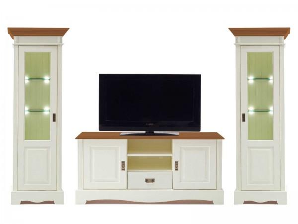 Wohnwand Wohnzimmer Schrank Set Padua 3-teilig B 321 x H 204 x T 49 cm Pinie Nordica massiv