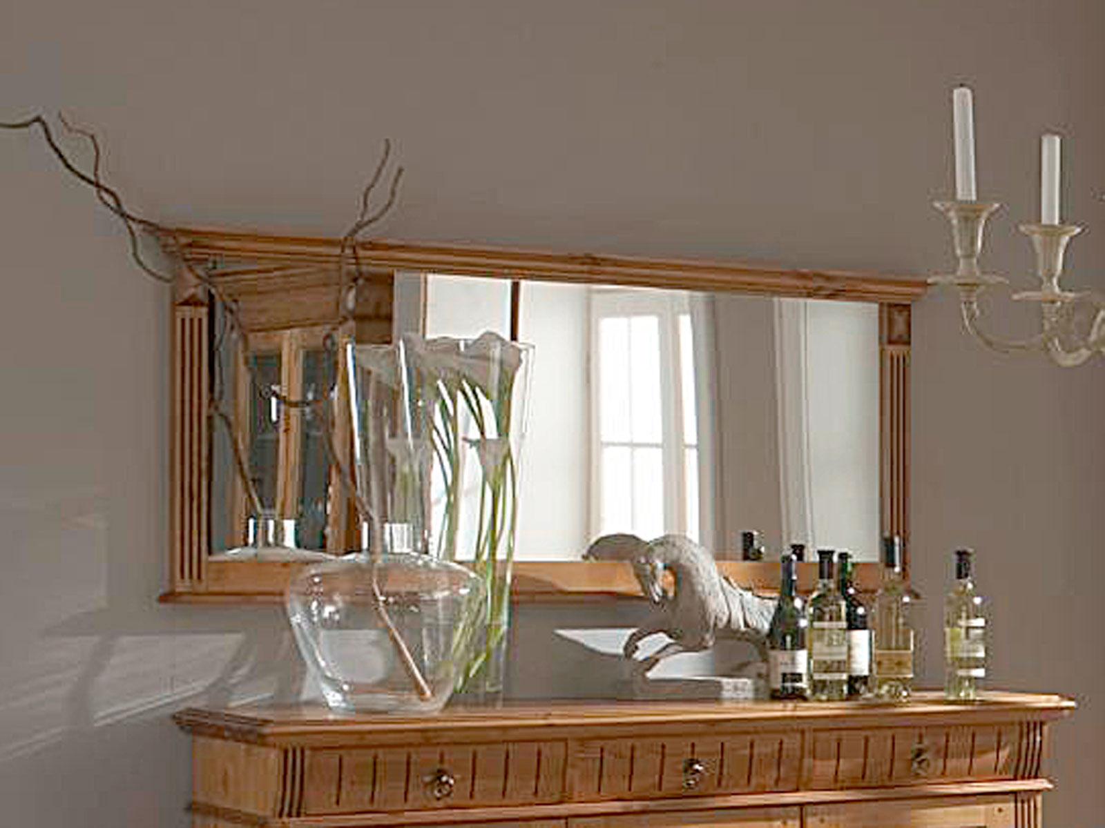 Wandspiegel Esszimmer-Spiegel Florenz 8 x 8 cm Pinie Nordica massiv  sierra