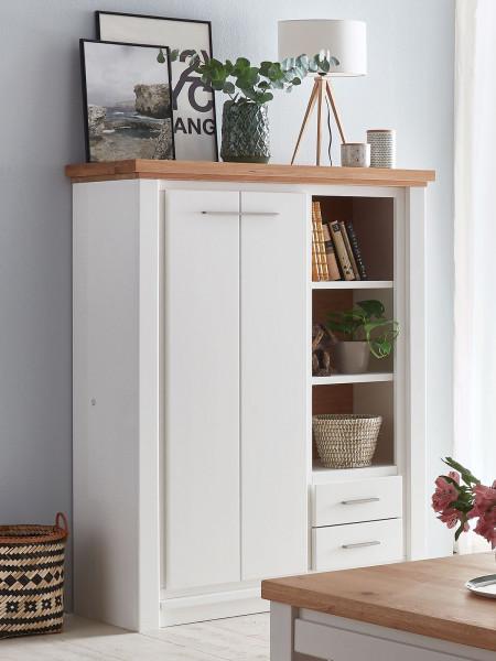 Highboard Hochanrichte Olbia 113x146x48 cm Pinie Nordica weiß und Wildeiche natur geölt massiv