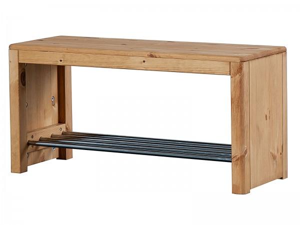 Schuhregal Schuhablage 81x40x30 cm Garderobenbank mit Sitzfläche natur Picco Pinie Nordica eichefarb