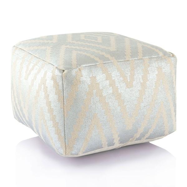 Sitzwürfel 2. Wahl Fußhocker Sitzhocker 55x37x55 cm Pouf Kelim Bodenkissen quadratisch Peru silber