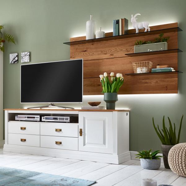 TV Schrank Set Lowboard Novara Lowboard + Wandpaneel rechts Pinie Nordica weiß Wildeiche natur massi