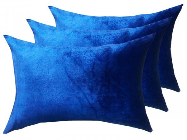 Zierkissen Set 3 Stück Deko Kissen Sofa Kissen Velour Samt 50 x 35 cm glatte Oberfläche royalblau