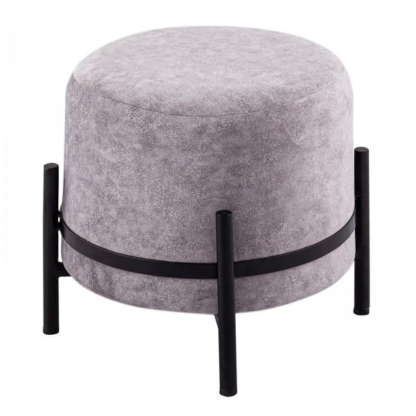 Sitzhocker Wildleder-Optik Pouf Sitzpouf Ø 35 H 37 cm Sitzpouf mit Eisengestell schwarz matt