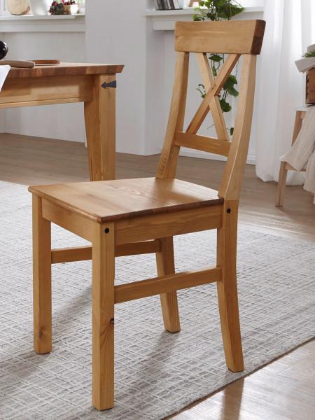 Esszimmer Stuhl Massivholz Torino Pinie Nordica eichefarbig gebeizt geölt