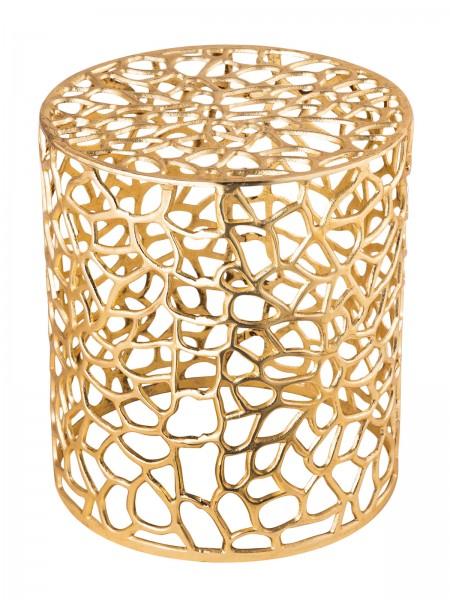 Beistelltisch Metall Dekotisch ø 40 x 45 cm rund Agadir silber o. gold Aluminium Korallen-Design