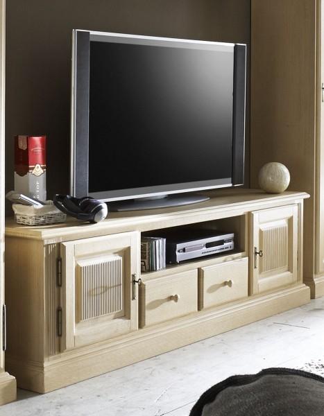 TV Lowboard Fernsehschrank Casapino 190 cm 2 Holztüren 2 Schubladen 1 offenes Fach Pinie massiv