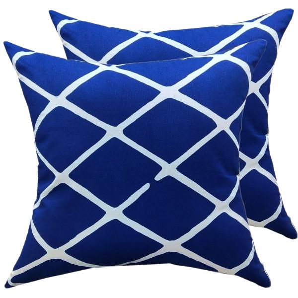 Deko Kissen Set 2 Stück Zierkissen 45 x 45 cm Sofa Kissen Baumwolle Karo-Design blau weiß