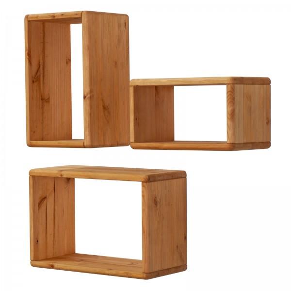 Wandregal 3er Set Bücher Regale Hängeregale Holz natur Picco Pinie Nordica massiv eichefarbig gebeiz