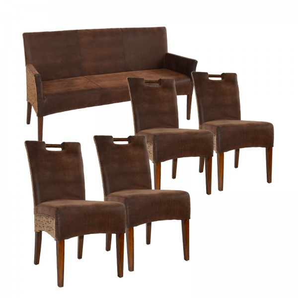 Sitzbank und 4 Rattan-Stühle-SET Bilbao vollgepolstert, Polster prairie brown