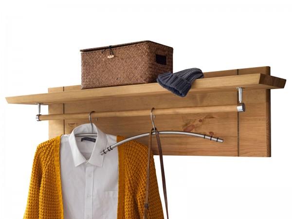 Garderobe mit Hutablage u. Kleiderstange Garderobenpaneel Torino Pinie Nordica massiv eichefarbig