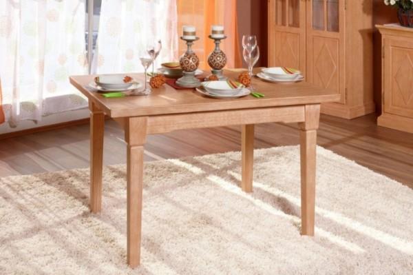 Esstisch Esszimmer-Tisch 120 x 80 cm mit Klappeinlage, Pinie massiv honig