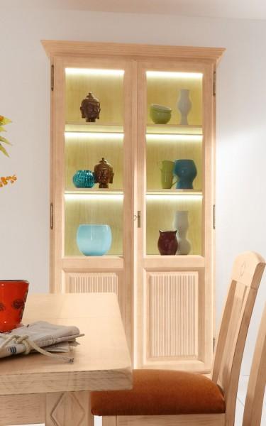 Glas-Vitrine Stand-Vitrine Wohnzimmer Casapino 2-türig aus Glas mit Holzfüllung Pinie massiv