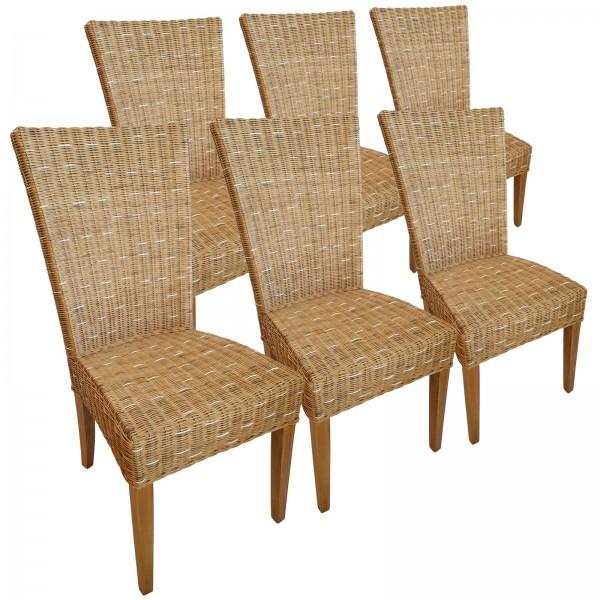 Esszimmer Stühle Rattanstühle Wintergarten Cardine 6 Stück capuccino mit/ohne Sitzkissen leinen weiß