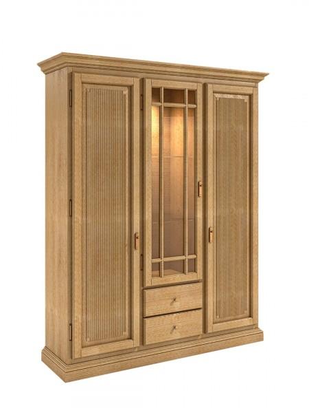Vitrinenschrank 3-türig Duett Pinie massiv, 2 Holztüren, 1 Glastür mit Holzsprossen