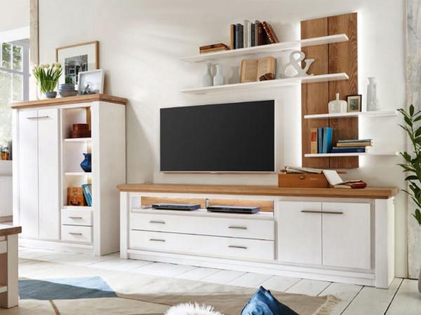 Wohnwand Olbia Highboard TV Lowboard Wandregal Pinie Nordica weiß und Wildeiche natur geölt