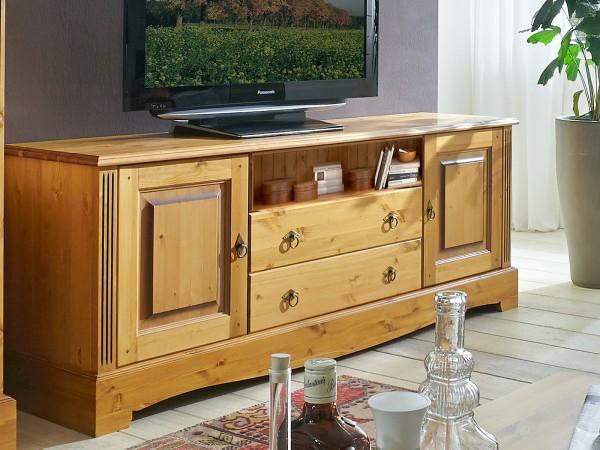 TV Lowboard Fernsehschrank Florenz 2 Türen 2 Schubladen 1 Fach Pinie Nordica massiv sierra