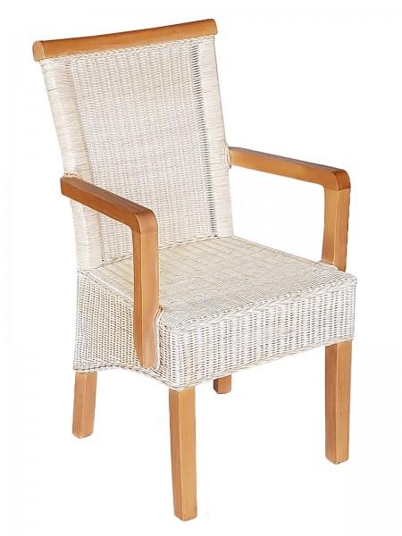 Esszimmer Stuhl mit Armlehnen Rattanstuhl weiß Perth