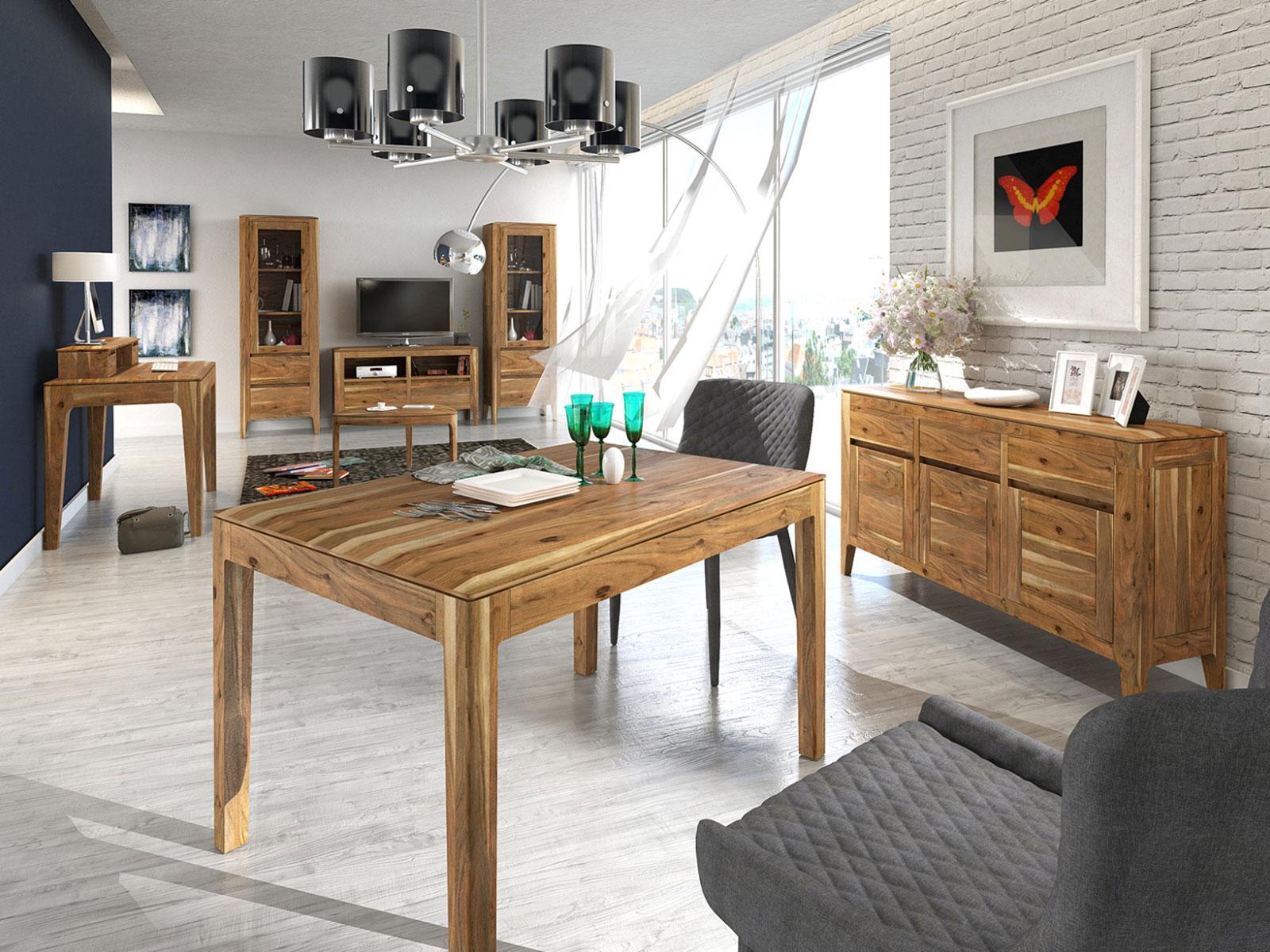 esstisch esszimmer tisch casablanca 130 160 x 80 90 cm akazie massiv in 3 farben casamia wohnen. Black Bedroom Furniture Sets. Home Design Ideas