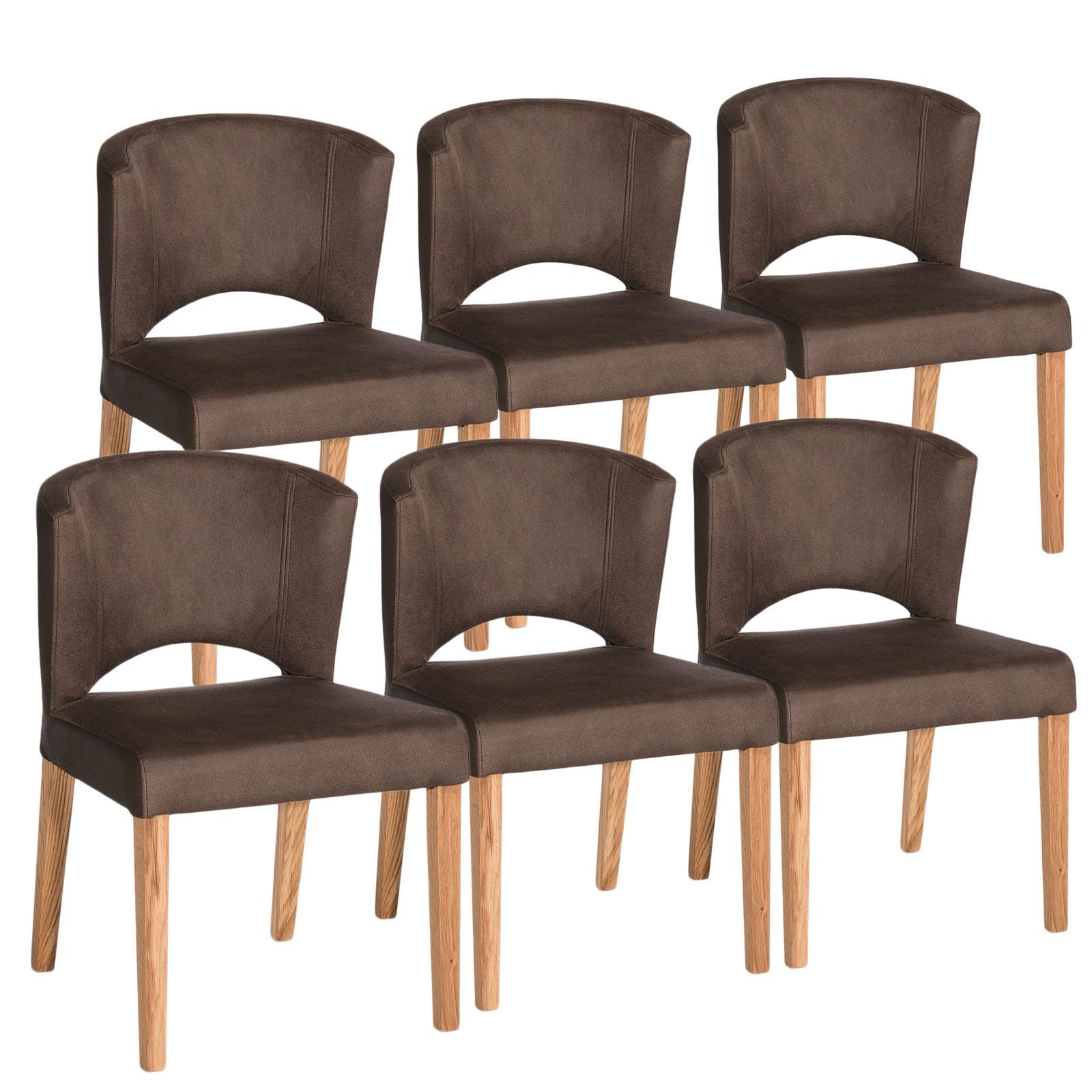 Esszimmer Stuhl Set Rimini 6 Stück Festgepolstert Microfaserbezug